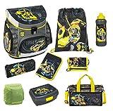 Familando Transformers Bumblebee Schulranzen-Set 9 tlg. mit Federmappe, Dose, Flasche, Sporttasche und Regenschutz