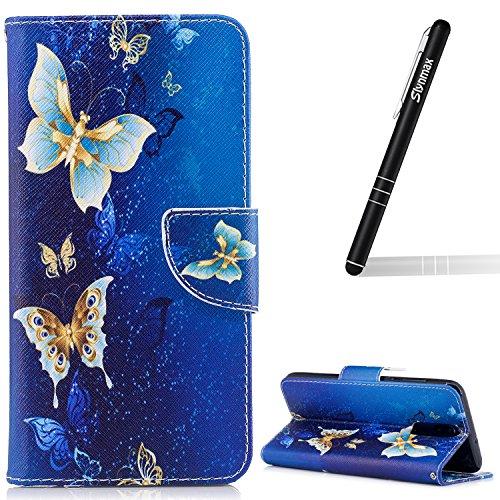 Schutzhülle für Huawei Mate 10 Lite Blau,Slynmax Gold Schmetterling PU Leder Handyhülle für Huawei Mate 10 Lite Hülle Flip Cover Lederhülle Handytasche Stand Kartenfächer Magnetverschluss Brieftasche