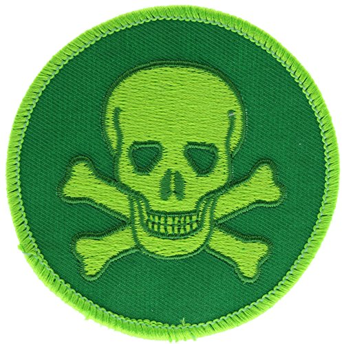 Kostüm Biker Bad - Totenkopf neon grün 7,6cm Hat Gap Shirt Patch ppmskullgrn