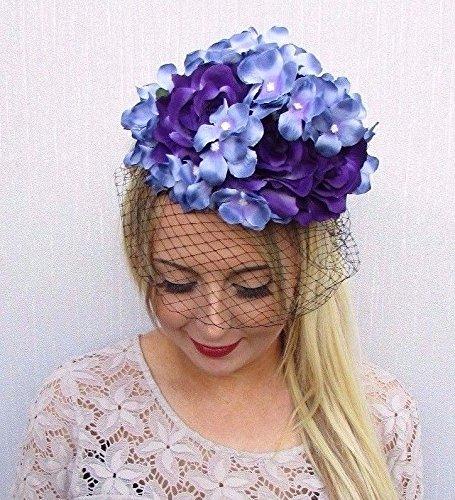 Starcrossed Boutique violett blau schwarz Birdcage Schleier Blume Fascinator Races Net Stirnband Einzigartige 3525 (Stirnband Birdcage)