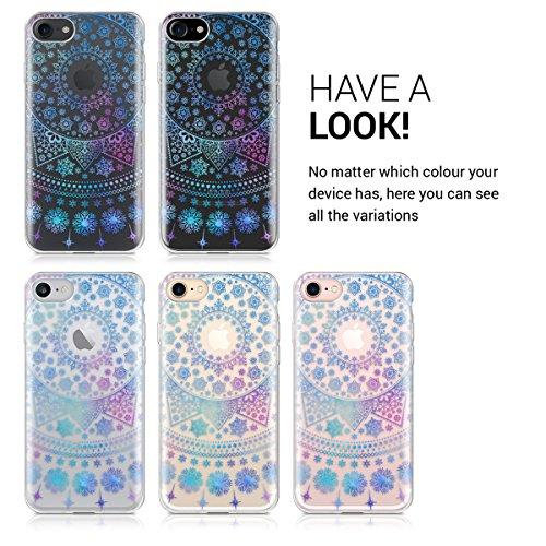 kwmobile Hülle für Apple iPhone 7 / 8 - TPU Silikon Backcover Case Handy Schutzhülle - Cover Metallic Rosegold Arktische Schneeflocke IMD Blau Pink Transparent