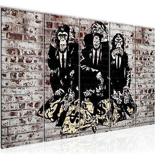 Bilder Banksy Street Art Affen Wandbild 200 x 80 cm - 5 Teilig Vlies - Leinwand Bild XXL Format Wandbilder Wohnzimmer Wohnung Deko Kunstdrucke Grau MADE IN GERMANY Fertig zum Aufhängen 303455c