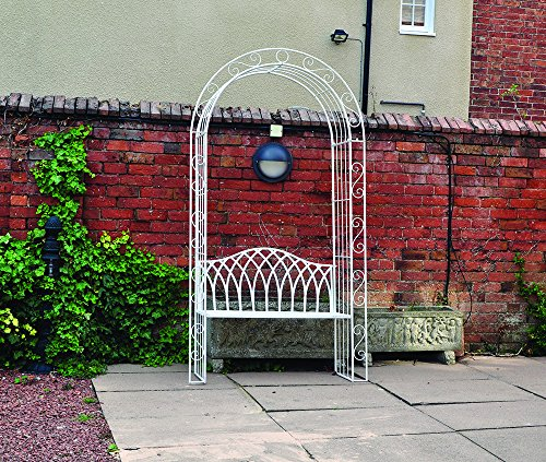Quattro Stagioni Vintage fsvc3Canterbury arco da giardino in ferro battuto con panca, colore: panna