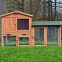ZooPrimus Kleintier-Stall Nr 01 Kaninchen-Käfig  HASENVILLA  Meerschweinchen-Haus für Außenbereich (Breite 145cm, Tiefe 53cm, Höhe 86cm, geeignet für Kleintiere: Hasen, Kaninchen, Meerschweinchen usw.)
