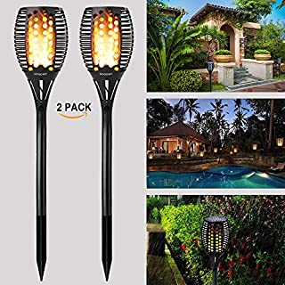 GOGOMY Solar Flame Lights Garden Lights Solar Powered - 96 LED Flickering Flame Solar Torch Light Dusk to Dawn Auto On/Off - IP65 Waterproof Solar Lights Outdoor Garden Decorative Lights - 2 Pack