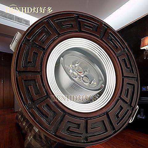 Via Light-Retro bronzo verde faretto a LED da incasso faretto a LED luce a soffitto continentale Americana 5W Lampada fori da soffitto,bianco