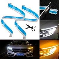KKmoon Striscia Luminosa a LED Luci Diurne Indicatori Luminosi di Direzione a Due Colori Lampada Flessibile Color Ambra Bianca 60cm