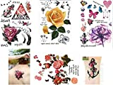 WASSERFARBEN BLUMEN ROSEN TATTOO 4 Stück Set FLASH TATTOO FAKE BUNTE TATTOOS 2017 Neu Set 1