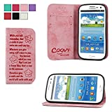 eab8ce38506 COOVY® Funda para Samsung Galaxy S3 GT-i9300 GT-i9305 Neo GT-i9301  Billetera, Ranuras para Tarjetas, Cierre magnético, Soporte, Protectora de  Pantalla Smile ...
