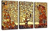 Quadro Klimt Albero della Vita 3 Pezzi 113x70 cm Quadri Moderni Soggiorno XXL Stampa su Tela Canvas