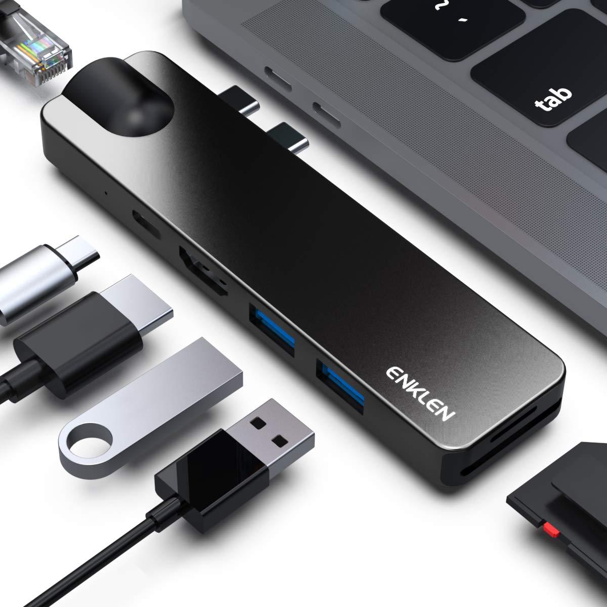 ENKLEN Hub USB C pour MacBook Pro/Air 2019/2018/2017/2016, Adaptateur de Type C avec Thunderbolt 3, HDMI 4K, 2 USB 3.1, Lecteur de Carte SD/Micro SD, port Gigabit Ethernet,Port de Chargement de Type C