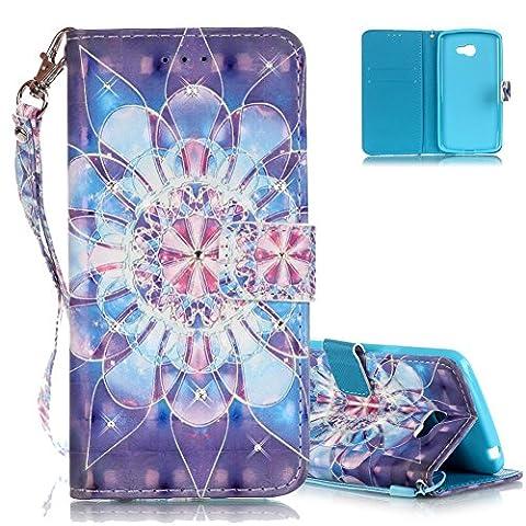 Coque LG K5 (5.0 pouces) Bleu, Aeeque® 3D Bling Diamant [Fleur de Cristal] Motif Housse de Protection en Cuir - Luxe Antichoc Anti Rayure Support Fonction Etui pour LG