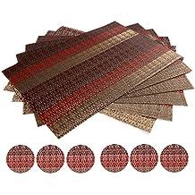 """waahome manteles individuales juego de 6, suave tejido de Vinilo manteles individuales para hogar, cocina, vinilo, Rojo, 17.7"""" X 11.8"""""""