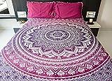 Folkulture Mandala Bettbezüge mit Kissenbezügen, indischer Bohemian-Wandteppich, Hippie-Strand-Decke, Mandala Ombre Tagesdecke für das Schlafzimmer, pink, violett, 152 x 203 cm