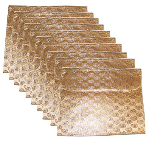 Kuber Industries™ Brocade Saree Cover Pack of 10 Pcs (Golden)