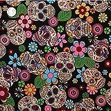 Mit Blumenmuster im Retro Mexican Style & Skulls Stoff 1