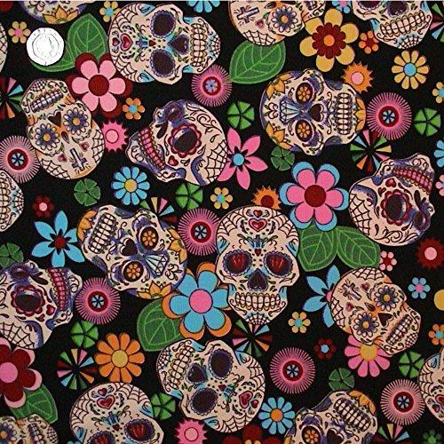 Mit Blumenmuster im Retro Mexican Style & Skulls Stoff 1 METRE schwarz 100% Baumwolle.