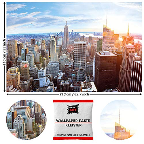 GREAT ART Fototapete New York City Skyline 210 x 140 cm - Penthouse Ausblick Panorama Big Apple Amerika Manhattan Sonnenaufgang Wandtapete - 5 Teile Tapete inklusive Kleister
