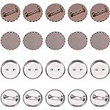 PandaHall 10 Pezzi 2 Stile Ferro Rotondo Pin Backs Impostazioni di Base Spilla Accessori di Spilla di Ferro con vassoi in Ott
