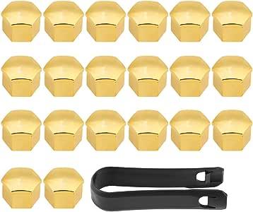 Suuonee Radnabenabdeckungen 20pcs 17 Mm Universal Auto Reifen Radnabenabdeckungen Radmutter Bolzen Schraube Abdeckung Schutzkappe Gold Auto