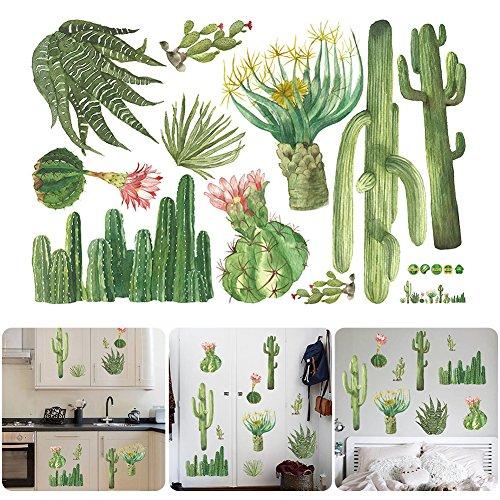 aufkleber tropischen Kaktus Wand Aufkleber diy Neuheit Wand Kunst Wandbild für Schrank Fenster Dekoration (Wand-kunst-aufkleber Pflanzen)