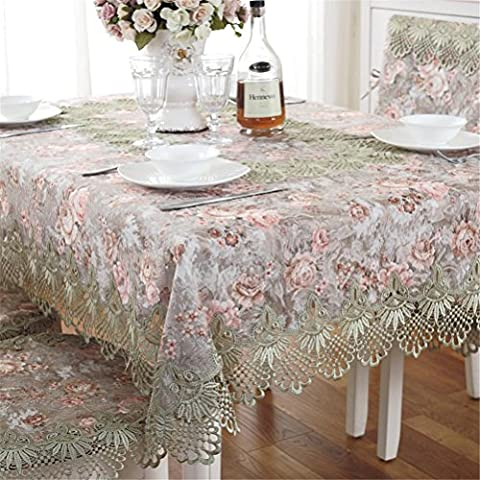 TABLE® Tapis en tissu de table à la broderie européenne Manteau Nappe en dentelle Table Dîner Ornement Runner Square Garden , elegant roses - green , rectangular 80*300cm