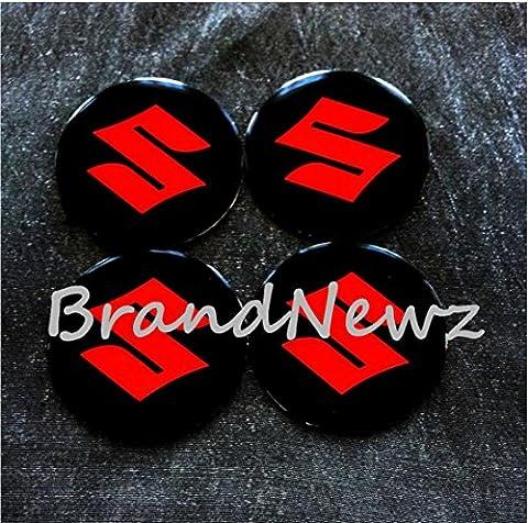 Aufkleber für Radzierblende / Radkappen, mit Suzuki-Logo, gewölbt,55mm, 4er-Pack