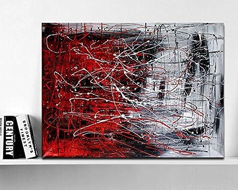 Haute qualité peint à la main d'origine abstraite moderne Art contemporain Peinture Rouge Gris Art mural décoratif Texture Grande illustrations, 32x48inch(80x120cm)