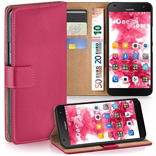 moex Huawei G7 | Hülle Pink mit Karten-Fach 360° Book Klapp-Hülle Handytasche Kunst-Leder Handyhülle für Huawei Ascend G7 Case Flip Cover Schutzhülle Tasche