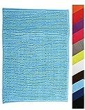 MSV Badteppich Badvorleger Duschvorleger Chenille Hochflor Badematte 60x90 cm – Hellblau