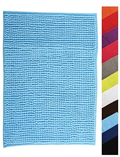MSV Badteppich Badvorleger Duschvorleger Chenille Hochflor Badematte 40x60 cm - Hellblau