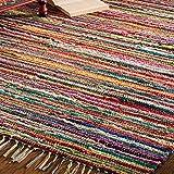 Indian Arts Fair Trade Tappeto Telaio a Mano Indiano Riciclato al 100% Cotone, Tessuto, Multi, 100 x 164cm