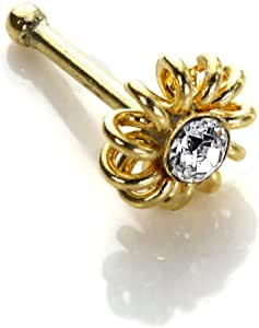 9ct Gold /& 1.5mm Straight CZ Crystal Prong Set Ball End Nose Pin