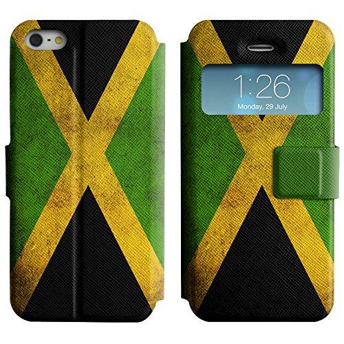 Graphic4You Vintage Uralt Flagge Von Bahamas Design Leder Schützende Display-Klappe Brieftasche Hülle Case Tasche Schutzhülle für Apple iPhone 5 und 5S Jamaika Jamaikaner