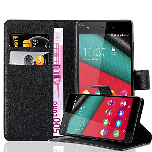 Cadorabo Coque pour WIKO Pulp 4G en Noir DE Jais - Housse Protection avec Fermoire Magnétique, Stand Horizontal et Fente Carte - Portefeuille Etui Poche Folio Case Cover