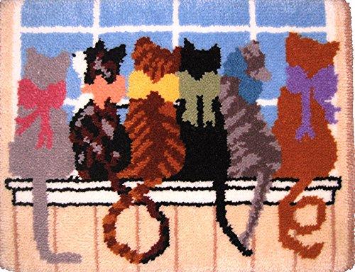 MCG Tessile 25 x 33 pollici Kit Cat Tails Fermo gancio Tappeto