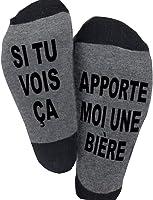 Blesser Chaussettes Coton, SI TU VOIS ÇA, APPORTE MOI UNE BIERE Chaussettes Drôles Chaussettes Courtes Fantaisie Cadeaux...