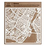 Montréal carte découpée sur papier, blanc 30x30 cm Art papier