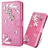 3D Butterfly Feather Bling Glitter Glitzer Diamond Musterg Ledertasche Slim Bookstyle Standfunktion Karteneinschub Magnetverschluss Flip Wallet Hülle Schutzhülle für Samsung Galaxy S7 Edge