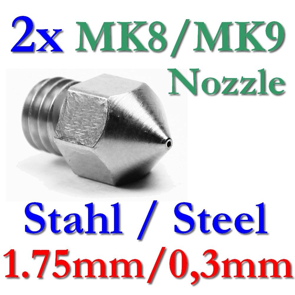 2x MK8MK9Précision Imprimante 3D Buse en acier inoxydable 0,3mm