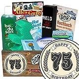 75-Geburtstag lustige Geschenke | Pflegeset | Geschenke zum 75. | Pflegebox | Geschenk Set | mit Badusan, Held der Arbeit Duschbad, Ampelmann Badeschwamm und mehr