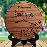 mengliangpu8190 Funny Badminton Gifts Who Cares You're On Badminton Time Gifts for Badminton Player Shuttlecock Birdie, Clock Only, 12' Wall Clock