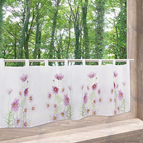 Tischdeckenshop24 - tenda a pannello sommerblumen, 45 x 115 cm, per cucina, soggiorno bianco, stile bistrò, tenda moderna e semitrasparente per l'estate
