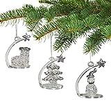 Cristallo ornamenti di Natale–Stella cadente da appendere o seduta Glittery Snowman stocking o albero ornamenti & Figurines–Set di 3–5,7cm H