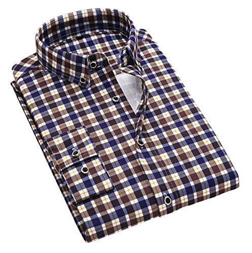 DD UP Herren Baumwolle Business Slim Fit Langärmlige Hemden Brown