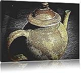 klassische alte Teekanne aus Keramik schwarz/weiß Deluxe Format: 120x80 cm auf Leinwand, XXL riesige Bilder fertig gerahmt mit Keilrahmen, Kunstdruck auf Wandbild mit Rahmen, günstiger als Gemälde oder Ölbild, kein Poster oder Plakat