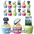 PRE-CUT Bath Rugby Birthday Party Pack - Edible Cupcake Toppers / Cake Decorations from AK Gifts