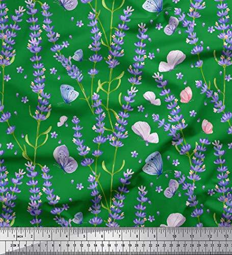 Soimoi Grun Georgette Viskose Stoff Schmetterling & Lavendel Blumen- Stoff Meterware 42 Zoll breit