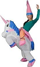 xiaoyi Adulti Gonfiabile Unicorno Principessa Halloween Vestito Elegante Saltare Parte Cosplay Di Costume, Gonfiabile Unicorno Rider Costume