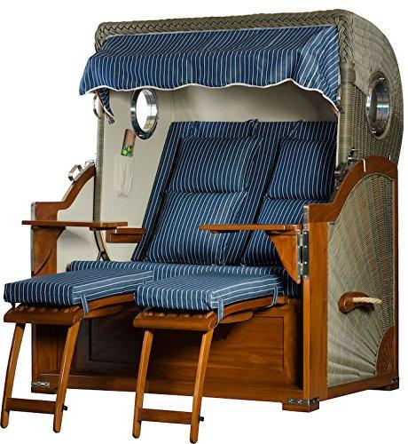 Mahagoni Strandkorb 2,5 Sitzer Baltikum Bullaugen Blau Nadelstreifen 140cm breit inklusiv Rollen und Verstellhilfe – Komplettangebot